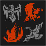 Flying eagle, peacock and pheasant vector logo icons showing different wing positions in black silhouette for heraldic Stock Photo