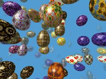Flying easter eggs generated 3D background. Flying easter eggs generated 3D on blue background Stock Photography