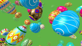 Flying easter eggs generated 3D 4K video stock video footage