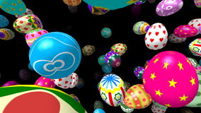 Flying easter eggs generated 3D video stock footage