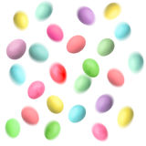 Flying easter eggs over white background Royalty Free Stock Photos