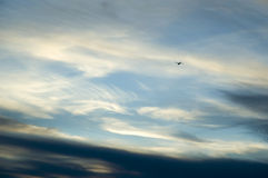 Flying into edge of storm. Small airplane flying into leading edge of storm clouds Royalty Free Stock Photos