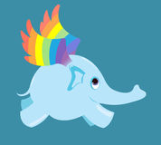 The flying elephant. The flying elephant with  rainbow wings Royalty Free Stock Photo