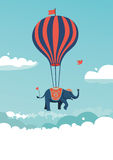 Flying elephant. The elephant is flying above the clouds. Vector illustration stock illustration