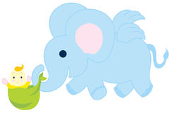 Flying Elephant With Baby Royalty Free Stock Images