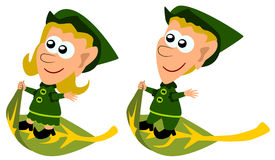 Flying elves. Two cute cartoon elves riding on a flying leaf Stock Photo