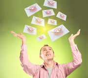 Flying emails Stock Photo