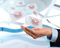 Flying emails Royalty Free Stock Images