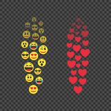 Various emoji in move. Red hearts in move. Expression of audience emotions. The level of popularity of video broadcasts of users. Flying Emoji and hearts stock illustration