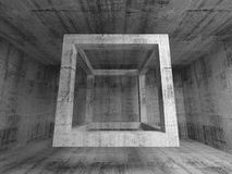 Flying empty beam cube in abstract 3d concrete room interior. Abstract dark gray concrete room interior. 3d background illustration with flying empty beam cube Royalty Free Stock Image