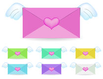 Flying envelope Royalty Free Stock Images