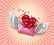 Flying envelope to Valentine's Day Stock Photo