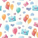 Watercolor pattern with envelopes and balloons in the sky. Flying envelopes and balloons in the sky. Watercolor illustration in seamless pattern Stock Photos