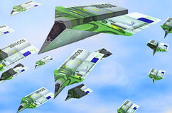 Flying euro. A conceptual picture of origami aeroplanes of 100 euro useful for economical presentation or banks vector illustration