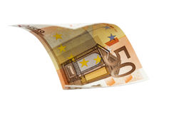 Flying Euro bank note Stock Image