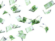 Flying euro banknotes. Isolated over white Stock Images