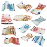 Flying Euro banknotes isolated on white Stock Photo