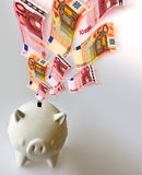 Flying Euro banknotes with white piggy bank Stock Photo