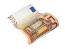 Flying 50 euro bill in wave shape isolated Royalty Free Stock Photos