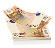 Flying euro bills, the concept of success Royalty Free Stock Image
