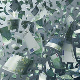 Flying 100 Euro Bills Royalty Free Stock Photo