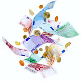 Flying Euro money Stock Photos