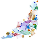 Flying Euro money Royalty Free Stock Photo