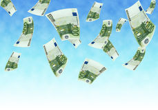 Flying euro. Rain money euro. one hundred euro background stock illustration