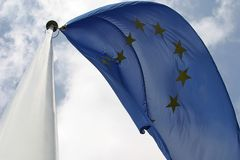 Flying european flag Royalty Free Stock Image