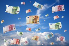 Flying euros royalty free stock photos