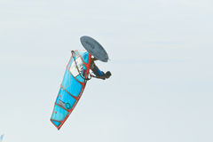 Flying Extrim Windsurfer in Jericoacoara Stock Images