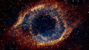 Flying Into An Eye Galaxy. Flight through space towards colorful galaxy resembling a huge eye