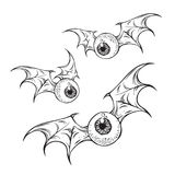 Flying eyeballs with creepy demon wings hand drawn black and white halloween theme print design isolated vector illustration. Flying eyeballs with creepy demon Royalty Free Stock Photo