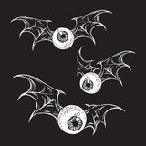 Flying eyeballs with creepy demon wings hand drawn black and white halloween theme print design isolated vector illustration. Flying eyeballs with creepy demon Stock Images