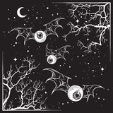 Flying eyeballs with creepy monster wings. Over the night sky with moon and stars hand drawn black and white halloween theme print design isolated vector Stock Photo