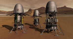 Flying Factories. EOS Mars Program Gas Processing Landers Stock Photo