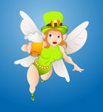 Flying Fairy with Beer Royalty Free Stock Photos