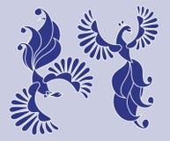 Flying fairy birds. Vector illustration of a couple of flying fairy birds. Base drawing stock illustration