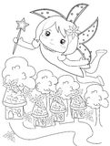 Flying fairy coloring page royalty free illustration
