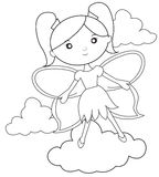 Flying fairy coloring page Royalty Free Stock Image
