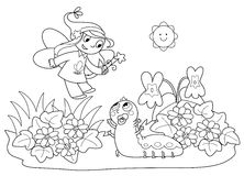 Flying fairy and cute caterpillar Royalty Free Stock Images