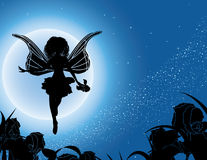 Flying fairy silhouette with flowers in night sky. Illustration Stock Photography