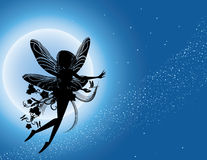 Flying fairy silhouette in night sky. Illustration Royalty Free Stock Photo