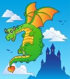 Flying fairy tale dragon near castle royalty free stock photo