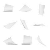 Flying, falling office white paper sheets vector set. Paper flight, illustraion of flying sheet paper Stock Photography
