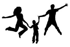Flying family silhouette