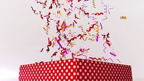 Flying Festive Confetti in Air. A festive 3d illustration of multicolored festive confetti flying in the air in the white background. They soar over a big Stock Photos