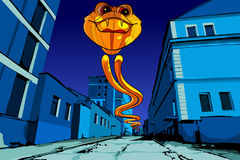 Flying fiery serpent on the night street. Cartoon flying fiery serpent on the night street Stock Photography