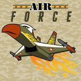 Flying Fighter jet cartoon with missile. Military plane on camouflage background. Vector cartoon illustration, no mesh, vector on eps 10 Stock Photos
