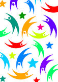Flying figures. Colored figures flying with stars Royalty Free Stock Photos